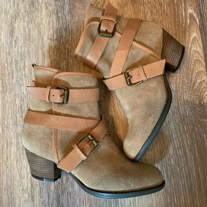 Aldo tan suede and leather heeled booties